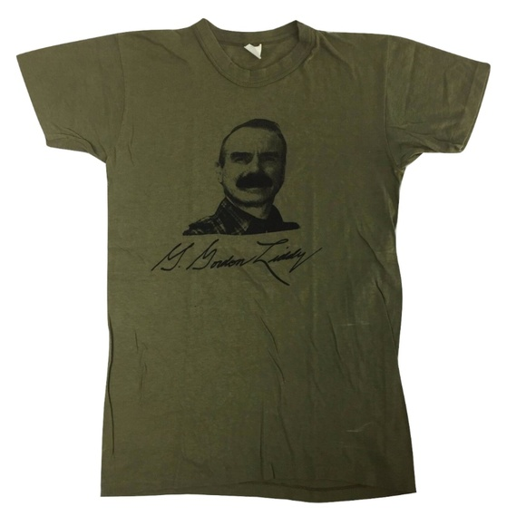 Vintage Other - G. GORDON LIDDY Vtg T-shirt Green 80's S Watergate